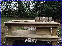 Big Green Egg Pressure Treated Pine Table with Yeti Roadie Cooler Spot