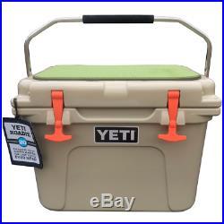 NEW! Custom YETI Roadie 20 TAN Hard Cooler with EVA Non Slip Embossed Cooler Pad