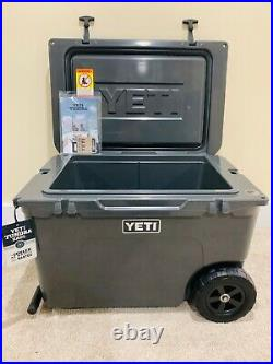 NEW YETI TUNDRA HAUL COOLER CHARCOAL PORTABLE WHEELED COOLER Hard To Find