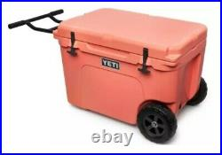 NIB RARE YETI TUNDRA HAUL COOLER IN CORAL With HANDLE AND WHEELS HOLDS 45 CANS