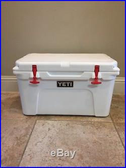 White Yeti Tundra 45 Cooler New With Custom RED T-Rex Latches & Rope Handles