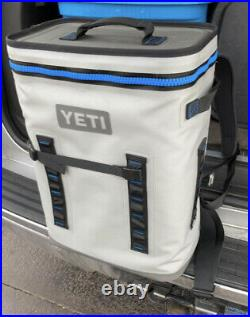 YETI Hopper Backflip 24 Soft Sided Cooler/Backpack Grey Bag Logo