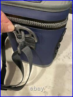 YETI Hopper Flip 8 Cooler Navy Blue and Grey Shoulder Strap Slightly Used