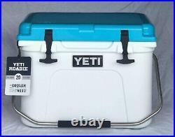 YETI Roadie 20 White / Reef Blue Cooler RARE / Unique Combination NEW