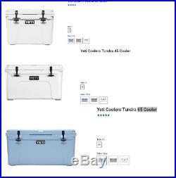 YETI Tundra Cooler 35 / 45 / 65 / Portable FULL BLUE TAN WHITE COLOR