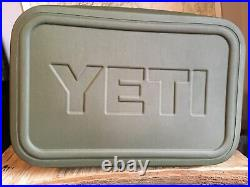YETI Used Hopper Flip 18 Soft Cooler Field Tan/Orange with rainbow trout patch