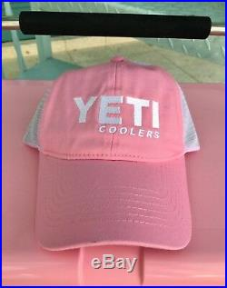Yeti Cooler Roadie 20 LIMITED EDITION PINK AND Pink Yeti Trucker Hat Boating NWT