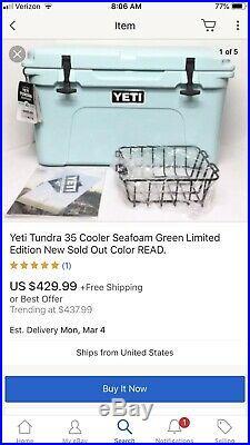 Yeti Tundra 35 Cooler Seafoam Green Limited Edition New