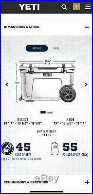 Yeti Tundra Haul Portable Wheeled Cooler 55qt Rare Blue Color NWT